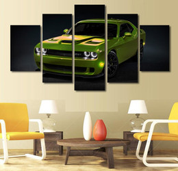 Wholesale hd car pictures - 5 Pcs HD Printed green sports car Painting Canvas Print room decor print poster picture canvas treal piting