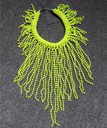 Wholesale Chunky Chain Bead Necklace - European and American Style Neon Yellow Statement Women Long Beading Chokers Star Favorite Fluorescence Chunky Tassels Bead Necklace Chains