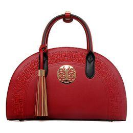 Wholesale Trend Shell Bag - PU Leather Women Handbags Shoulder Cross Oblique National PU Leather Bridal Solid Fashion Trend Simple Wild Handbag Totes Ladies Beach Bag