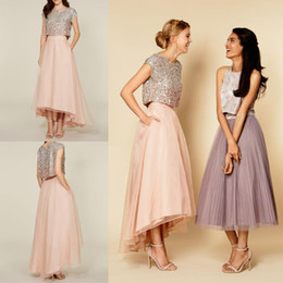 Wholesale Classic Short Bridesmaid Dresses - Unique Design Blush Pink High Low 2 Piece Prom Dresses Top Sequin Cap Sleeves Prom Party Gowns Chiffon Ankle Length Bridesmaid Dress
