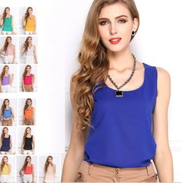Wholesale Girl Vest Shirt Candy Summer - 6 Sizes Summer Hot Sale Models Candy 14 Colors Chiffon Shirt Bottoming Shirt Sleeveless Camisole Women Vest Female T-shirt Girls Top