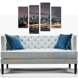 Wholesale Nice Cities - 4 Picture Combination YEHO Art Gallery Painting Montreal Ablaze With Lights In Nice Night Scene Print On Canvas City Pictures