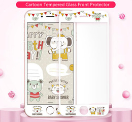 Wholesale Iphone Design Screen Protector - Fashion Design Custom Cell Phone Screen Protector Embossed Cartoon Design 9H Hardness Tempered Glass for Iphone6 6plus Iphone7 Retail Pack