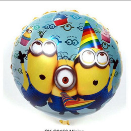 Wholesale Despicable Toy Inch - 18 inch roind Minion Balloon Birthday Decoration globos minions party supplies Despicable Me 2 ballon minions festa balao HJIA665