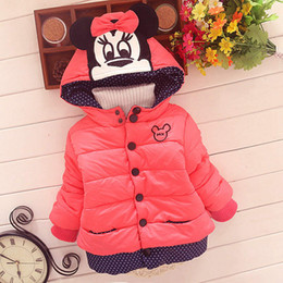 Wholesale Pink Animal Hood - 2016 children warm coat baby girls mickey jacket kids outwear girl's thicken coat hot sale child fashion cartoon clothing