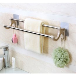 Wholesale Towel Pole - Manufacturer direct sale toilet new stainless steel +pp free perforated adhesive double pole multi-functional towel rack
