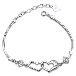 Wholesale Wholesale Jewelry Silver Europe - Korean female models 925 sterling silver double heart bracelet Europe happiness signal silver jewelry wholesale jewelry explosion models