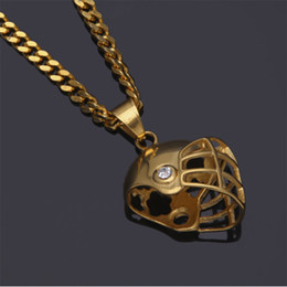 """Wholesale Crystal Football Necklace - Mens Hip Hop Gold Plated Iced Out Cz Stainless Steel Riding Football Helmet Pendant Necklace Whosales 5mm 27"""" Cuba Chain Necklace Fashion Je"""