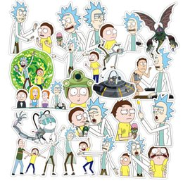 Wholesale Cars Decals Stickers - 35 45 60 100 110  set American Drama Rick and Morty Funny Sticker Decal For Car Laptop Bicycle Motorcycle Waterproof Stickers