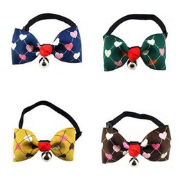 Wholesale Love Dog Cloth - Lovely Pet Dog & Cat Neck Tie With A Bells Sweet Love Heart-shaped Printed Bowknot Necktie Pets Animals Collar Adjustable DCBH42