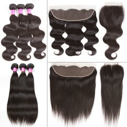 Wholesale Malaysian Remy Mixed Length - Peruvian Virgin Hair Body Wave Straight Human Hair Weave Bundles with 4X4 Lace Closure and 13x4 Lace Frontal Weaves Closure Remy Hair Wefts
