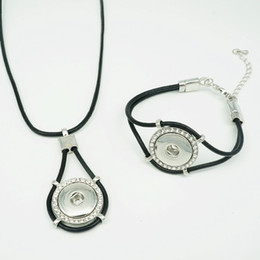 Wholesale Trendy Black Charm Bracelets - Hot sale DJ0111 Trendy Black leather ginger snap necklace 43CM bracelet set fit DIY 18MM ginger snap buttons Accessories charm jewelry
