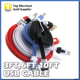 Wholesale Noodle Cables For Micro - 3FT 6FT 10FT Flat Micro USB Cable Charger Adapter Data Sync Charging Color Noodle Cable for Samsung S6 Edge S7 LG SONY Blackberry