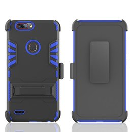 Wholesale Blade Hard Cover Case - Kickstand Hard Back Cover For ZTE Sequoia Blade ZMax Pro 2 Alcater  5049 A30 fierce 2017 PC+Silicone+TPU 3 IN 1 Anti-shock Clip Protector