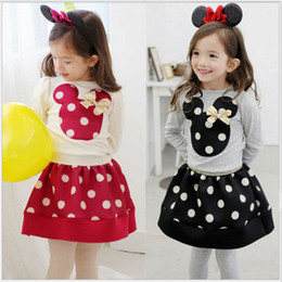 Wholesale Kids Girls Spring Skirts - 2016 Minnies mouse clothing girls spring sets long sleeve dots T-shirt+short skirts 2pcs baby girl's dresses children outfits kids clothes