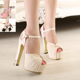 Wholesale Thick Sandals - Luxury Ivory white glitter wedding shoes sandals elegant bridal shoes pumps platform high thick heels 2015 size 35 to 39