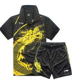Roupas de badminton on-line-Hot Li Ning badminton tênis de mesa homens roupas de manga curta T-shirt, roupas masculinas de tênis (camisa + shorts), de secagem rápida