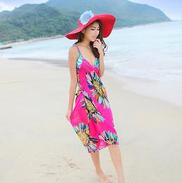 Wholesale Knee Length Beach Sundresses - Fashion Women Lady Floral Flower Bohemian Boho Backless Sundress Beach Chiffon Dress