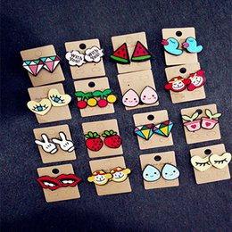 Wholesale Night Earrings - Many New Designs Animal Rabbit Monkey Fruit Month Small Acrylic Stud Earrings For Women Night Club Punk Jewelry Accessories