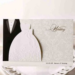 Wholesale Groom Bride Wedding Invitation Card - 50Pcs Bride And Groom Laser Cut Marriage Wedding Invitation Card Greeting Card 3D Card Printable Postcard Event Party Supplie