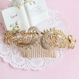 Wholesale Hair Combs For Weddings - beijia Gold Rhinestone Leaf Hair Comb for Wedding Women Hair Jewelry Bridal Accessories Combs Headwear