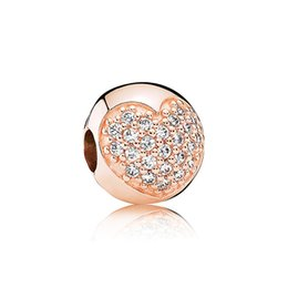 Wholesale Big Hole Gold Beads - New 18k rose gold Big Hole beads drip Retro Oval love shape diamond glass crystal silver loose beads DIY Bracelet jewelry