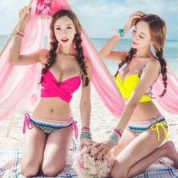 Wholesale Korean Sexy Woman Bikini - 2016 Summer style new sexy Swimwears Bikini Set Women's korean Bikinis Women Push Up Bathing suit