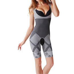 Wholesale Body Shapers Bamboo - Wholesale- Shapewear Bodysuit Women Full Body Shaper Bamboo Fiber Waist Corset Magic Slim Tummy Control Shapers Slimming Bodysuit Women