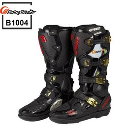 Wholesale Waterproof Long Boots - Motorcycle Boots Riding Tribe SPEED Bikers Moto Racing Boots Motocross Leather Long Shoes B1004 Free Shipping