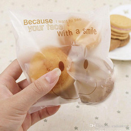 Wholesale Cookies Plastic Bag - 50Pcs big smiley cello cookie candy treat bags self adhesive party birthday E00057 BARD