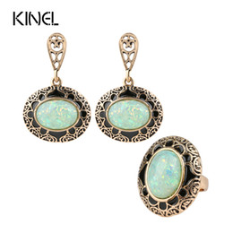 Wholesale Antique Jade Rings - kinel Opal Ring And Earring Jewelry Set Black Enamel Antique Gold 2pc Vintage Jewelry For Women Luxury Party Gift