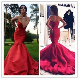 Wholesale china custom made prom dresses - Simple 2017 Red Long Prom Dresses Mermaid Satin Evening Dresses Sweetheart Backless Evening Party Dresses Made In China