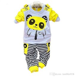 Wholesale Kids Panda Coat - 2016 summer new style baby boys and girls sport suits kids long sleeve panda sets children's coat and pant 2 piece sets.