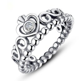 Wholesale Diamond Ring Solitaire Princess - 100% 925 sterling sliver pandora ring for Valentine's Day princess crown pandora ring authentic diamond rings pandora jewelry AAA zircon