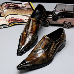 Wholesale Bronze Mens Dress Shoes - Man Point Toe dress shoe Italian designer formal mens dress shoes genuine leather Bronze luxury wedding shoes men flats office for male