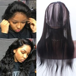 Wholesale Closure Wigs - Pre Plucked 360 Lace Frontal With Wig Cap Peruvian Straight Hair Frontal Adjustable band Natural Hairline 360 Lace Hair