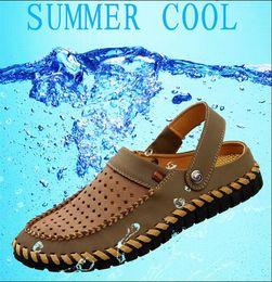 Wholesale Casual Rubber Slipper For Men - Hot Men'S Sandals 2016 Summer Soft Bottom Hole Roman Casual Brand Genuine Leather Sandals For Men Men Beach Sandals Slippers