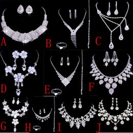 Wholesale Cheap Stone Necklaces - 2016 Luxurious Cheap bridal jewelry necklace sets Wedding Bridal Bridesmaids Rhinestone Jewelry Set for Party Prom