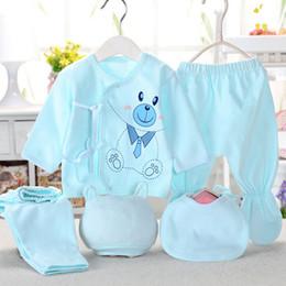 Conjunto de ropa de bebé recién nacido Baby Boy Girl Clothes Ropa interior de algodón 100% de dibujos animados, (5 piezas / conjunto) azul amarillo rosa desde fabricantes