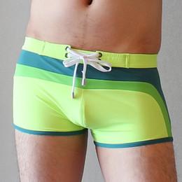 Wholesale Board Shorts Fabric - Wholesale-Brand Swimwear Swimsuit Mens Sexy Swimming Swim Trunks Fashion Patchwork Male Board Surf Boxer Shorts Beach Wear Lining Fabric