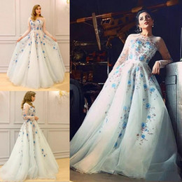 Wholesale Long Evening Classy Dresses - Classy Zuhair Murad Dresses Evening Wear Jewel Neck Long Sleeves Formal Dress Sweep Train Appliqued Runway Fashion Gown