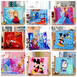 Wholesale Minnie Print - Baby Blankets Trolls Frozen Cartoon Blanket Mickey Minnie KT Bedding Doraemon Pooh Princess Stitch Car Air Condition Blankets Gifts B3216