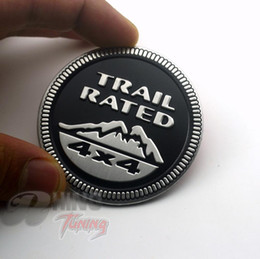 Wholesale Wholesale Jeep Cherokee - Wholesale- Black TRAIL RATED 4X4 METAL Sticker Car Boot Trunk Rear Badge Emblem Decal FOR Jeep Grand Cherokee Wrangler Rubicon