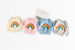 Wholesale Baby Knit Sweater Pattern - 2017 Autumn Ins Baby Kids Rainbow Pattern Sweater Boys Girls Knitted Pullovers Tops Children Babies Knitwear Sweaters 13429