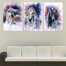 Wholesale Framed Horse Art Abstract - Fairy Horses ,3 PC Home Decor HD Printed Modern Art Painting on Canvas (Unframed Framed)