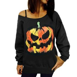 Wholesale women pumpkin - Women Hoodies Halloween Pumpkin Printed Autumn Tops Long Sleeved Loose Casual Pullovers Cosplay Wear