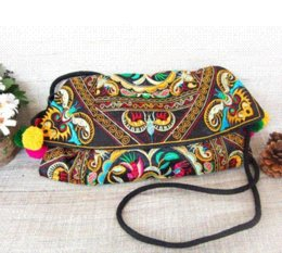 Wholesale Hmong Bags - Newest Vintage Fashion embroidery women's handbag Hmong Handmade Canvas cover Shoulder Messenger bags Ethnic cloth Small bags