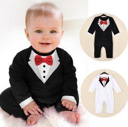 Wholesale Kids Body Suit Wholesale - Baby Rompers Baby Boys Romper Gentleman Modelling Infant Long Sleeve 3D Printing Vest Clothes Kids Body Suit 0-24M