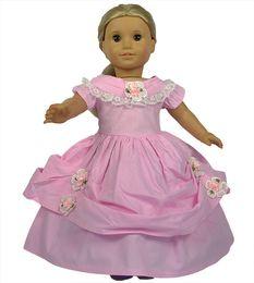 Wholesale Wool Western Skirt - 18 inch Pink Color American girl doll Western-style Dress Handmade Flower Pattern American Girl Doll Clothes