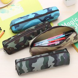 Wholesale Camouflage Pencil Case - Wholesale-1PCS Camouflage Pencil Bag For Boys Girls Pencil Case Cosmetic Makeup Bags Zipper Pouch Office School Supplies Stationery